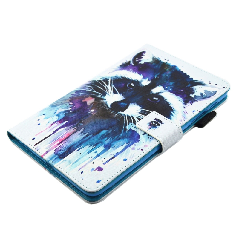 For Samsung Galaxy Tab A 8.0 / T380 & T385 Colorful Racoon Pattern Horizontal Flip Leather Case with Holder & Card Slots