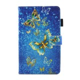 For Samsung Galaxy Tab A 8.0 / T380 & T385 Golden Butterflies Pattern Horizontal Flip Leather Case with Holder & Card Slots