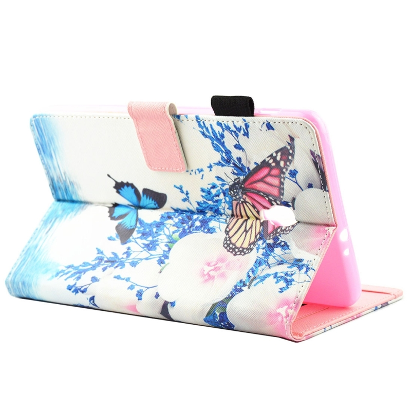 For Samsung Galaxy Tab A 8.0 / T380 & T385 Blue and Red Butterflies Pattern Horizontal Flip Leather Case with Holder & Card Slots