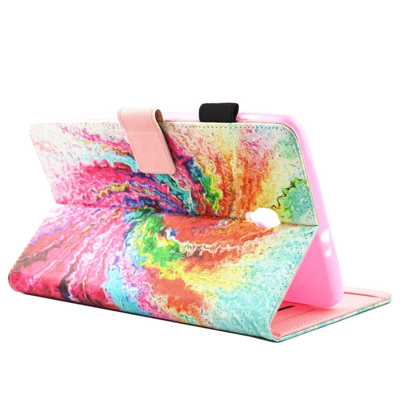 For Samsung Galaxy Tab A 8.0 / T380 & T385 Colorful Storm Pattern Horizontal Flip Leather Case with Holder & Card Slots