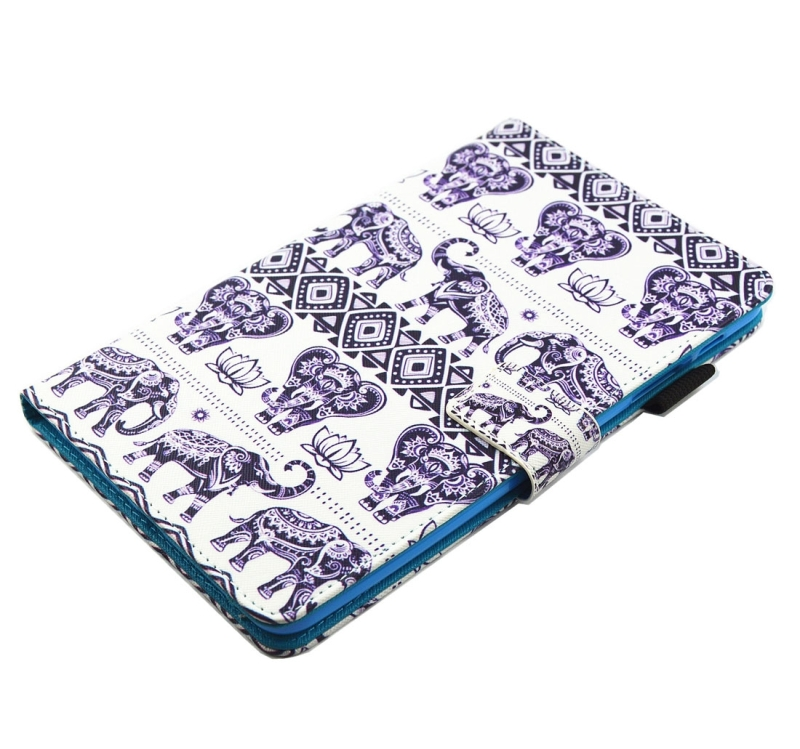 For Samsung Galaxy Tab A 8.0 / T380 & T385 Elephant Lotus Pattern Horizontal Flip Leather Case with Holder & Card Slots