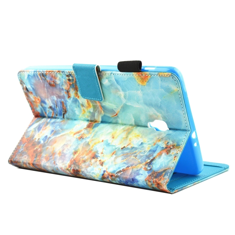 For Samsung Galaxy Tab A 8.0 / T380 & T385 Green Marble Pattern Horizontal Flip Leather Case with Holder & Card Slots