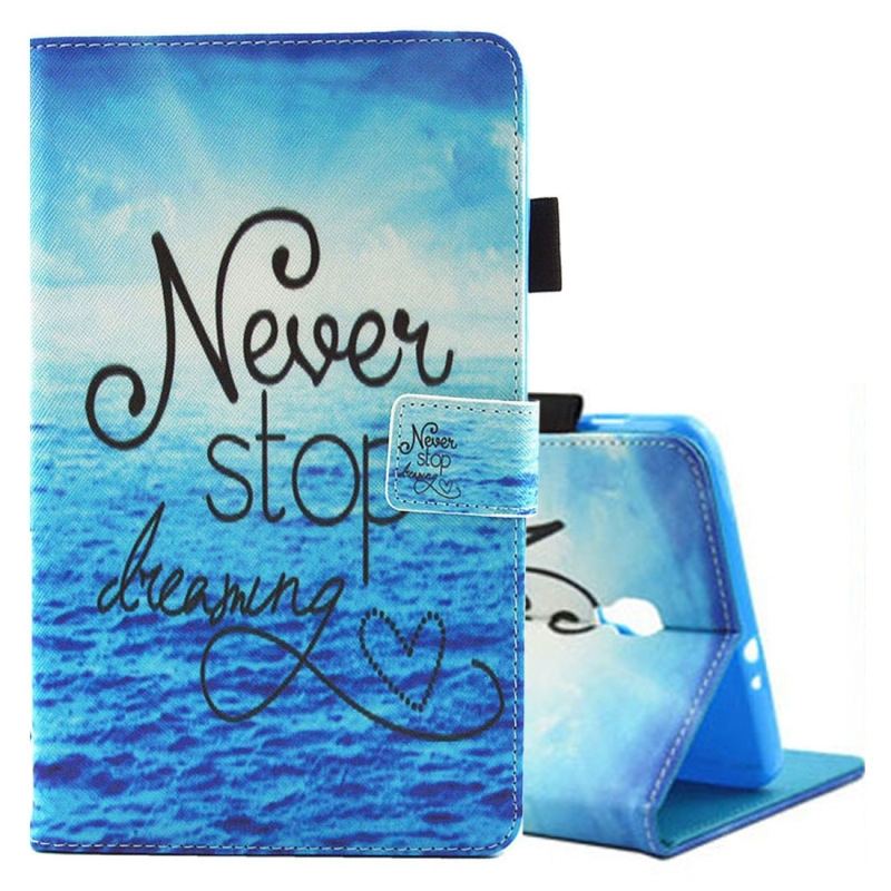 For Samsung Galaxy Tab A 8.0 / T380 & T385 Never Stop Dreaming Pattern Horizontal Flip Leather Case with Holder & Card Slots