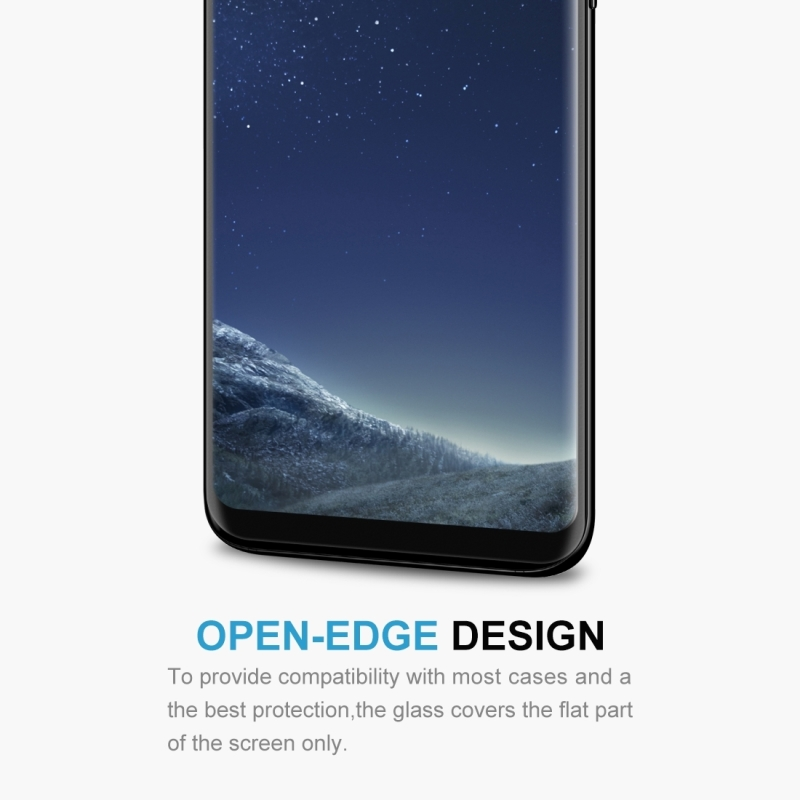 For Samsung Galaxy S8+ / G955 0.26mm 9H Surface Hardness 3D Explosion-proof Non-full Screen Curved Case Friendly Tempered Glass Film with Adhesive (Black)