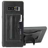 Fierre Shann For Samsung Galaxy Note 8 Full Coverage Protective Leather Case with Holder & Card Slot (Black)