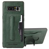 Fierre Shann For Samsung Galaxy Note 8 Full Coverage Protective Leather Case with Holder & Card Slot (Green)