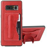 Fierre Shann For Samsung Galaxy Note 8 Full Coverage Protective Leather Case with Holder & Card Slot (Red)