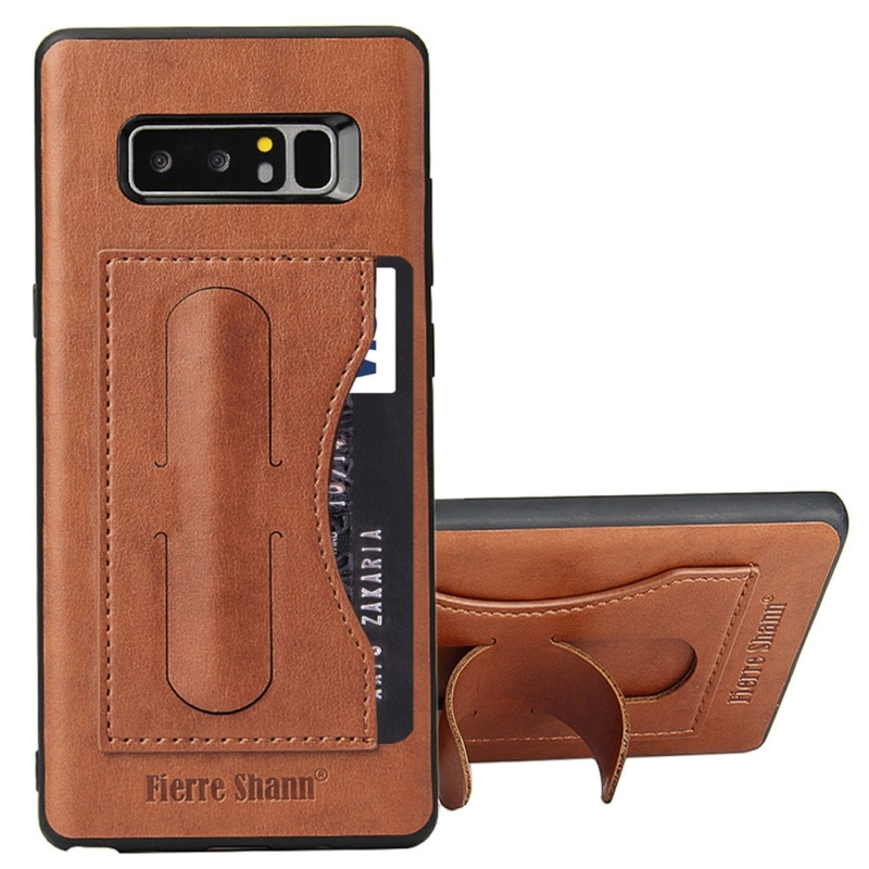 Fierre Shann For Samsung Galaxy Note 8 Full Coverage Protective Leather Case with Holder & Card Slot (Brown)