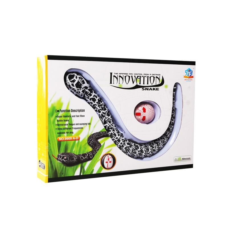 Tricky Funny Toy Infrared Remote Control Scary Creepy Snake, 38*3.5cm (Black)