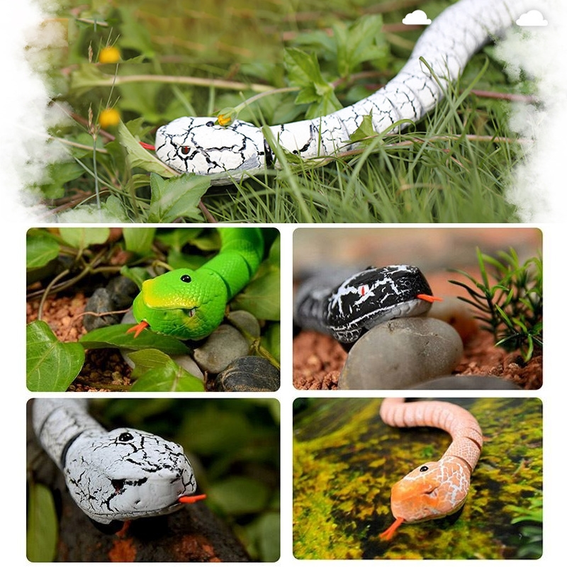 Tricky Funny Toy Infrared Remote Control Scary Creepy Snake, 38*3.5cm (White)