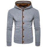Mens Winter Fashion Casual Hoodies Button Design Floral Hooded Sweatshirt