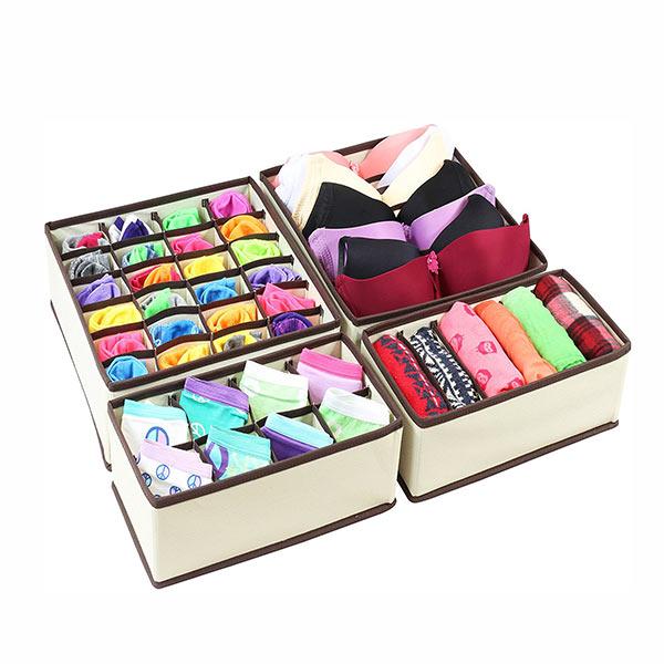 Beau Honana HN B52 4pcs Closet Underwear Organizer Non Woven Bra Underwear Socks  Drawer Storage Boxes