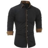 Mens Personality Contrast Color Casual Solid Color Slim Designer Shirt