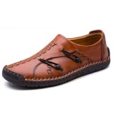 Men Comfortable Woven Style Genuine Leather Soft Sole Hand Stitching Oxfords Shoes