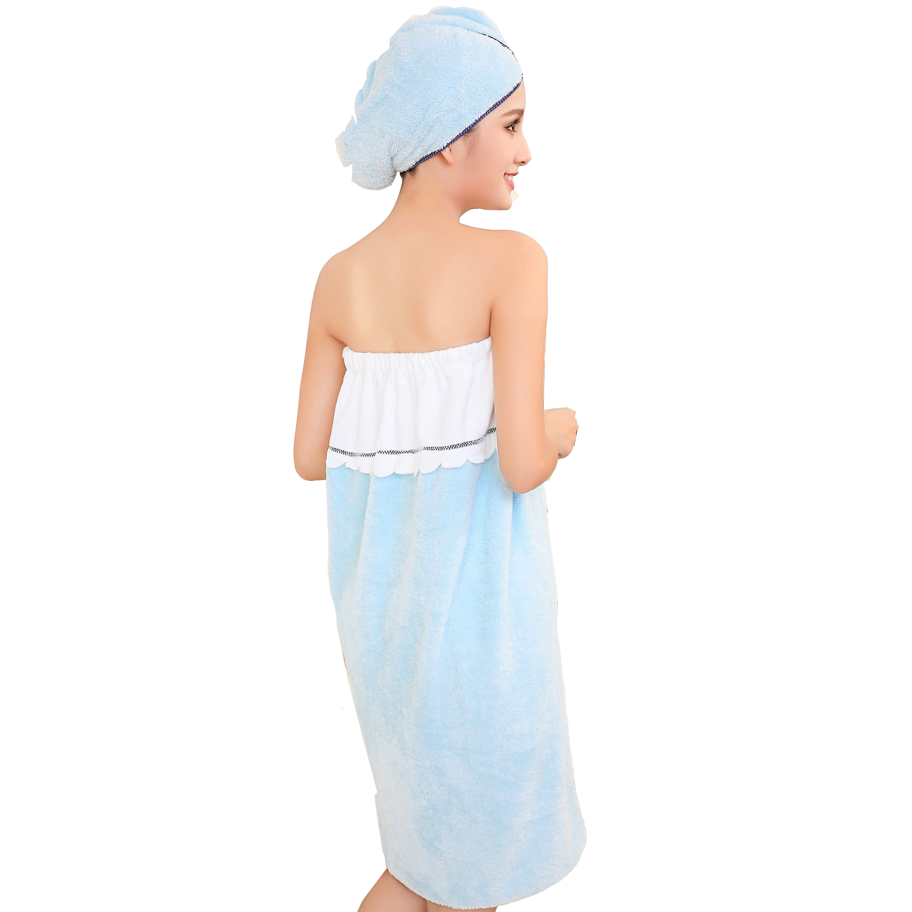 Honana Bx R970 Able Wear Spa Microfiber Soft Bathrobe Women Skirt Bath Towel With Bath Cap