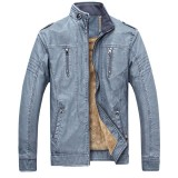 Winter Velvet Plus Thick Warm Stylish PU Motor Yellow Faux Washed Leather Jacket for Men