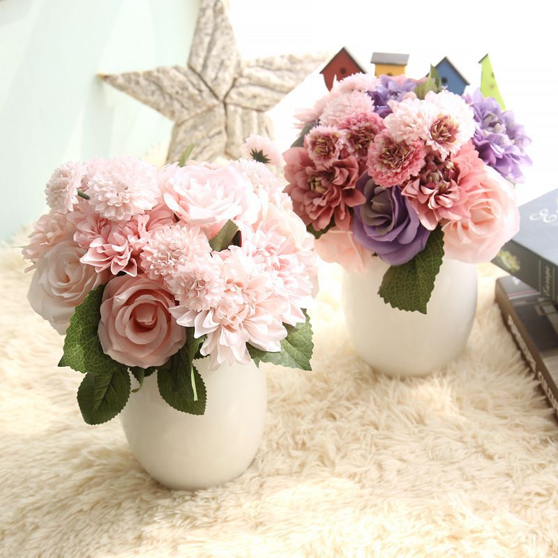 Rose artificial flowers bridal bouquet fake flower for Artificial flower decoration for home