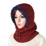 Women Men Thick Knitted Warm Beanie Cap With Earmuffs Hooded Scarf Hooded Neck Cap