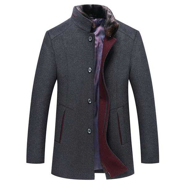 Mens Slim Fit Fur Stand Collar Woolen Blend Warm Jacket Single-breasted Business Coat