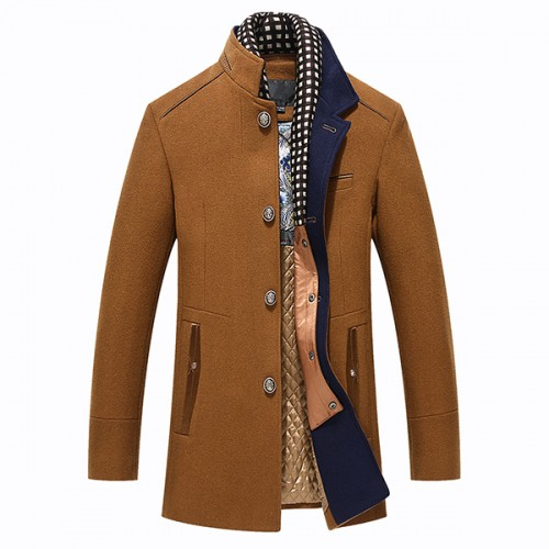 Autumn Winter Casual Slim Fit Stand Collar Scarf Detachable Stylish Woolen Overcoat Jacket for Men
