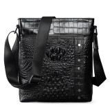 Men Genuine Leather Alligator Pattern Shoulder Bag Leisure Business Crossbody Bag Briefcase