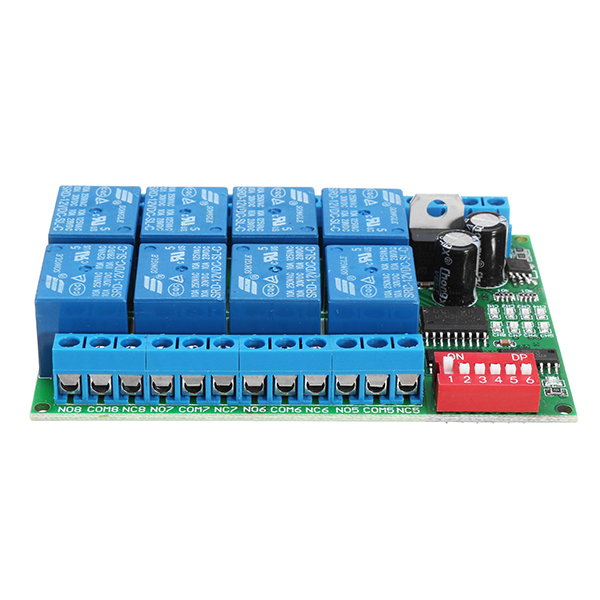 8 Channel DC 12V RS485 Relay Module Modbus RTU 485 Remote Control Switch For PLC PTZ Camera Security Monitoring