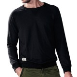 Autumn Winter Fashion Pure Color Round Neck Men Pullover Casual Long Sleeved Cotton Tops