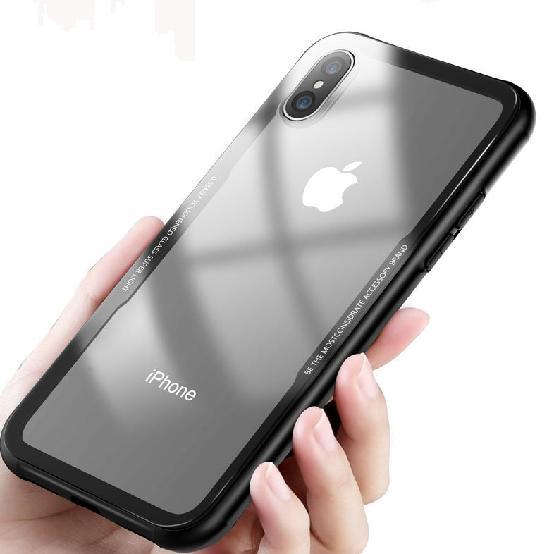 los angeles 238bb d6192 Bakeey Tempered Glass Transparent Back TPU Frame Case for iPhone X