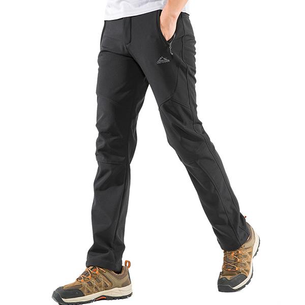 Men's Outdoor Soft Shell Fleece Warm Pants Winter Water-repellent Antifouling Climbing Trousers