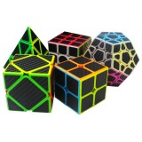 5Pcs Per Box Carbon Fiber Magic Cube Pyraminx Dodecahedron Axis Cube 2×2 And 3×3 Cube Speed Puzzle