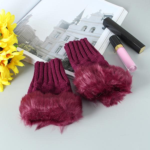 Women Winter Warm Knitted Thicken Fingerless Gloves Artificial Rabbit Hair Half Finger Sleeve