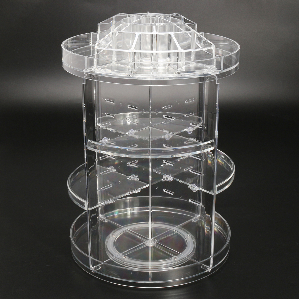 3 Tier Acrylic Cosmetic Makeup Jewelry 360 Rotating Storage