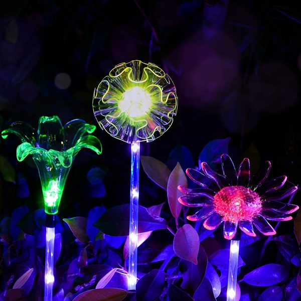 Arilux solar multi color changing led flower stake light transparent lampshade luminous pole for Solar garden stakes color changing