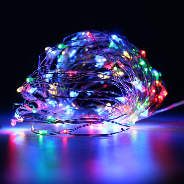 Battery Powered 10M 100LEDs Waterproof Silver Wire String Light For Wedding Party Decor