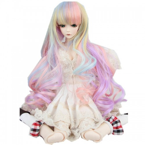 New 8-9'' 22-24cm 1/3 BJD SD Doll Wig Pink Ombre Long Curly Hair Cosplay Wig