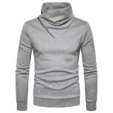 Autumn Winter Fashion Side Zipper Pile Heap Collar Sweater Pullover Men's Casual Pure Color Sweater
