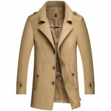 Mens Windbreaker Long Sections Trench Coat Casual Fashion Windbreaker Single-breasted Coat