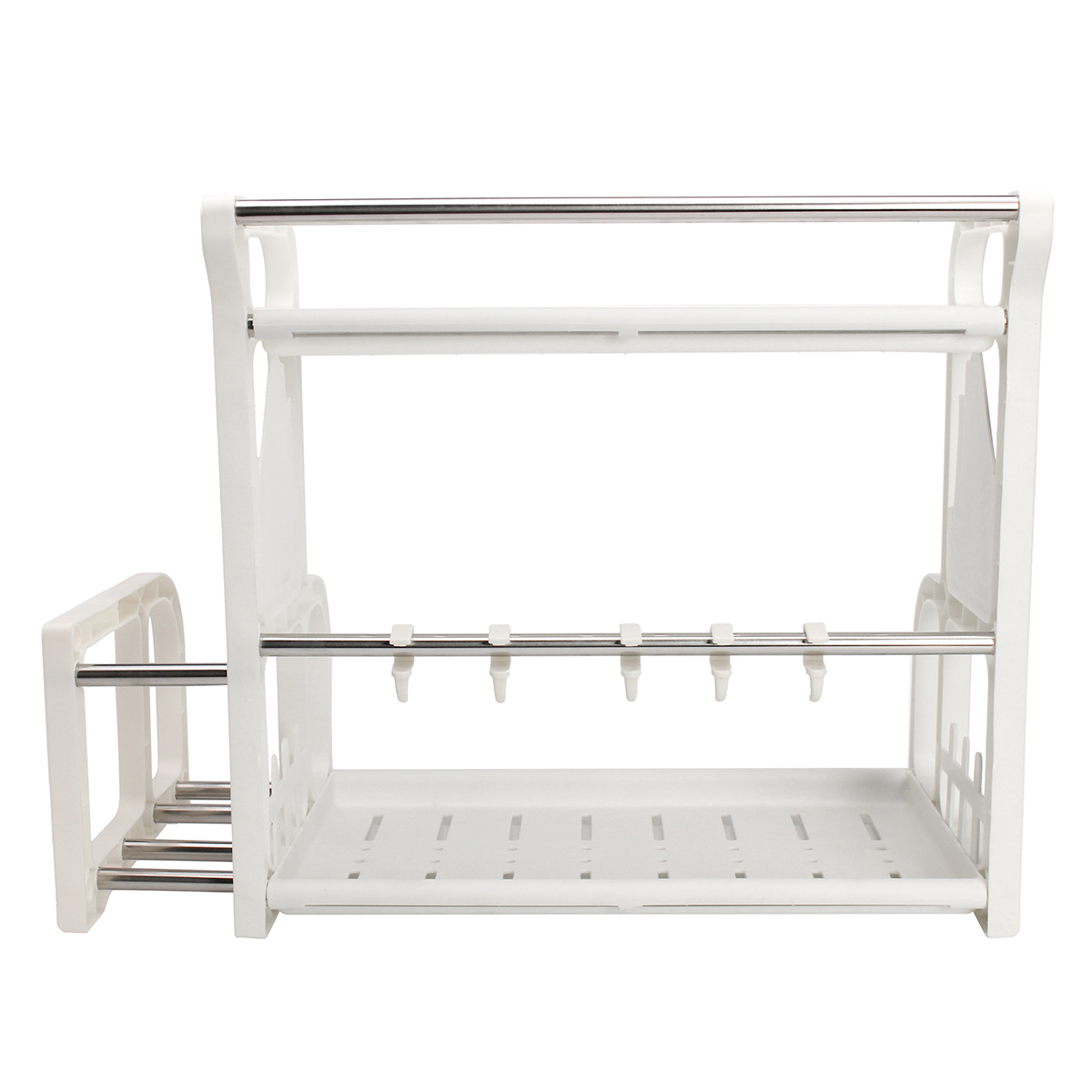 Double layer spice jar rack storage shelf pantry kitchen for Double kitchen cupboard