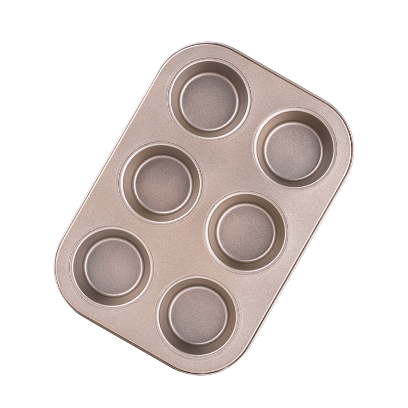 KCASA KC-OP01 6 Holes Stainles Steel Non-stick Muffin Cake Baking Oven Pan Cookie Tray Cup Cake Mold