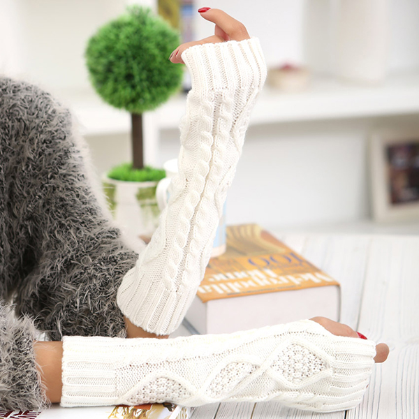 Women Winter Warm Knitting Fingerless Long Sleeve Gloves Casual Rhombic Pattern Gloves