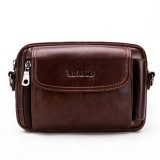 Vintage Genuine Leather Multi-funtion Phone Waist Bag Crossbody Bag For Men