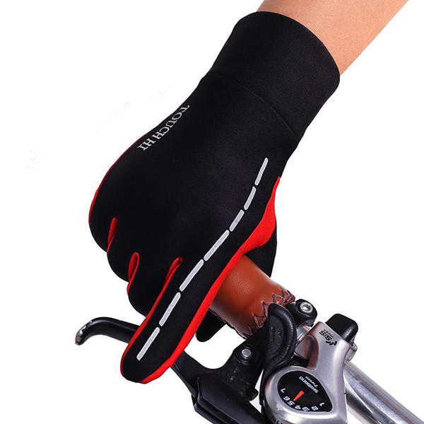 Mens Anti-Skid Fleece Outdoor Cycling Gloves Winter Warm Full Finger Windproof Mittens