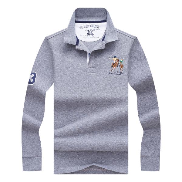 Spring autumn men s fashion embroidery logo polo shirt