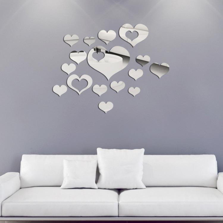 Honana dx y2 16pcs cute silver diy heart mirror wall for Silver bedroom wall art