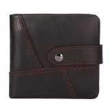 Genuine Leather Vintage Wallet Money Clip Bifold Wallet Coin Bag with Snap for Men