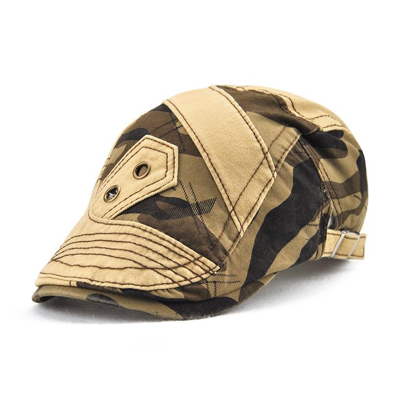 941515c555e08 Men Cotton Camouflage Patchwork Beret Caps Outdoor Buckle Adjustable ...