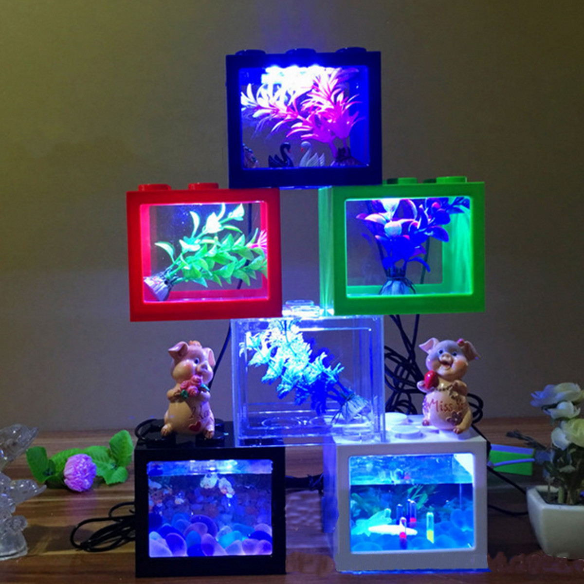 mini usb led light clear fish tank mini aquarium box bettas office desktop decor. Black Bedroom Furniture Sets. Home Design Ideas