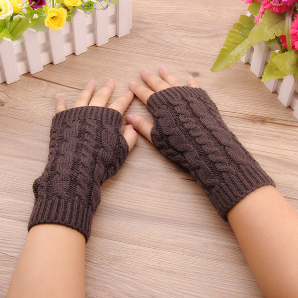 Women Winter Hand Warmer Gloves Thick Arm Crochet Knitting Warm Fingerless Gloves