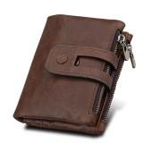 RFID Blocking Secure Wallet 11 Card Slots Vintage Genuine Leather Mens Zipper Wallet