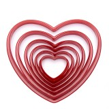 6pcs/set Heart Shaped plastic Cake mold cookie cutter biscuit stamp Sugar Craft cake decorations